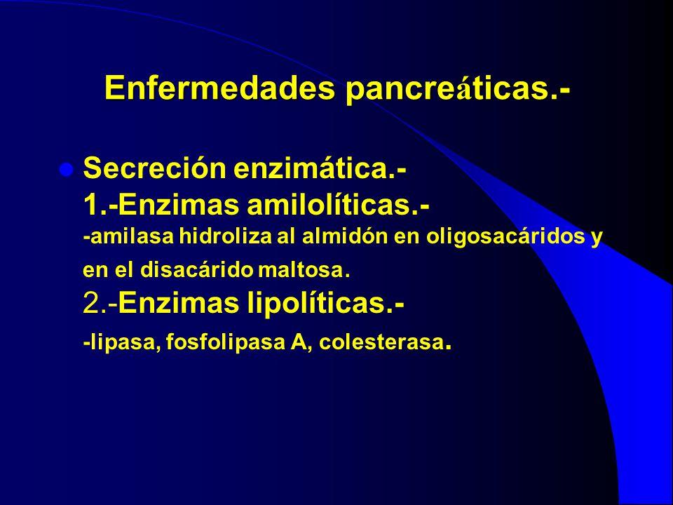 Enfermedades pancre á ticas.- Secreción enzimática.- 1.-Enzimas amilolíticas.- -amilasa hidroliza al almidón en oligosacáridos y en el disacárido malt