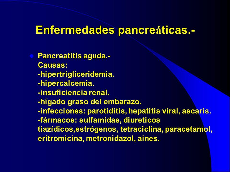 Enfermedades pancre á ticas.- Pancreatitis aguda.- Causas: -hipertrigliceridemia. -hipercalcemia. -insuficiencia renal. -hígado graso del embarazo. -i