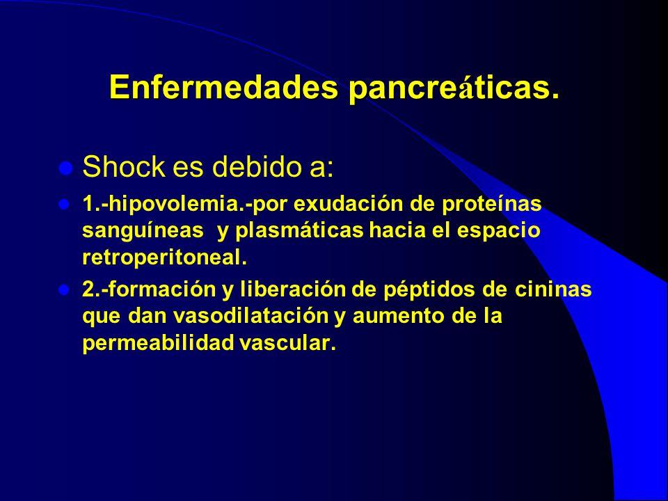 Enfermedades pancre á ticas. Shock es debido a: 1.-hipovolemia.-por exudación de proteínas sanguíneas y plasmáticas hacia el espacio retroperitoneal.