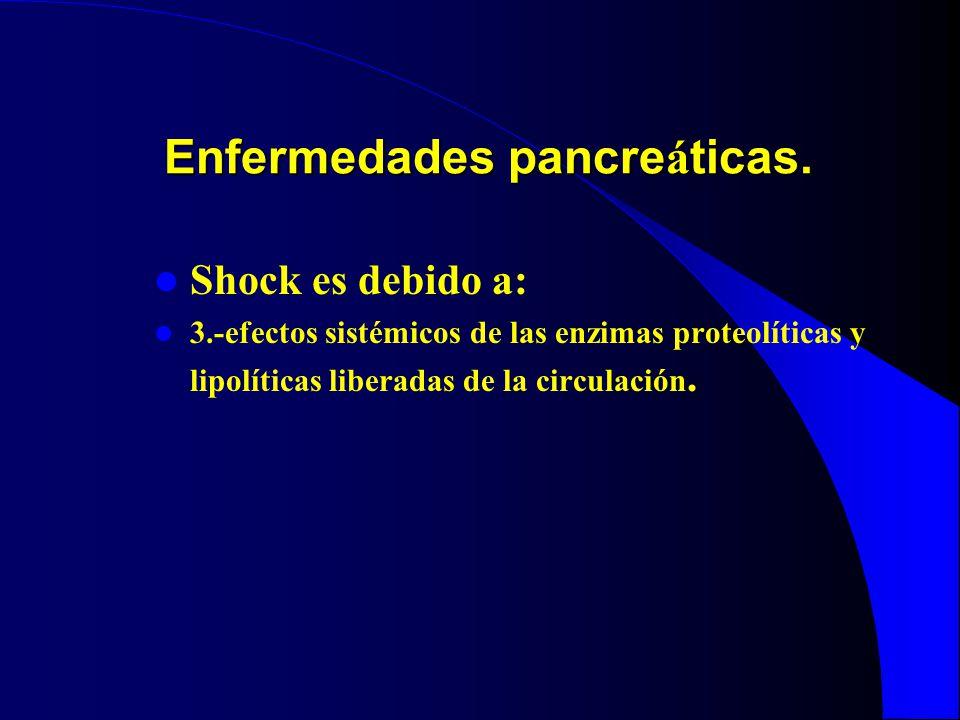 Enfermedades pancre á ticas. Shock es debido a: 3.-efectos sistémicos de las enzimas proteolíticas y lipolíticas liberadas de la circulación.
