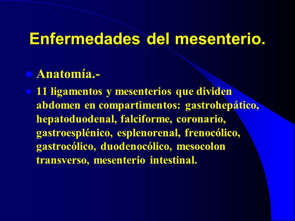 Enfermedades del mesenterio. Anatomía.- 11 ligamentos y mesenterios que dividen abdomen en compartimentos: gastrohepático, hepatoduodenal, falciforme,