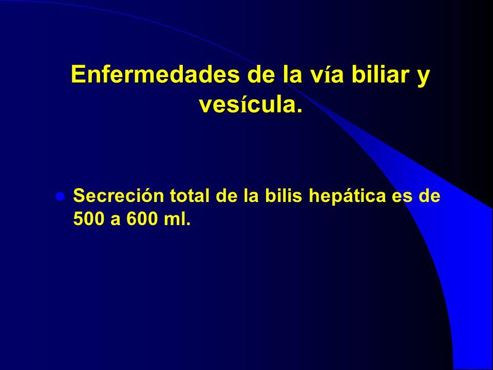 Enfermedades de la v í a biliar y ves í cula. Secreción total de la bilis hepática es de 500 a 600 ml.
