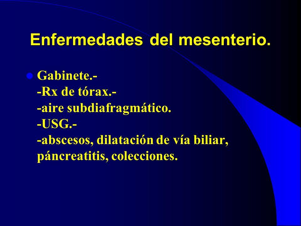 Enfermedades del mesenterio. Gabinete.- -Rx de tórax.- -aire subdiafragmático. -USG.- -abscesos, dilatación de vía biliar, páncreatitis, colecciones.
