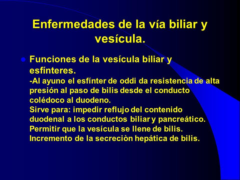Enfermedades de la v í a biliar y ves í cula. Funciones de la vesícula biliar y esfínteres. -Al ayuno el esfínter de oddi da resistencia de alta presi