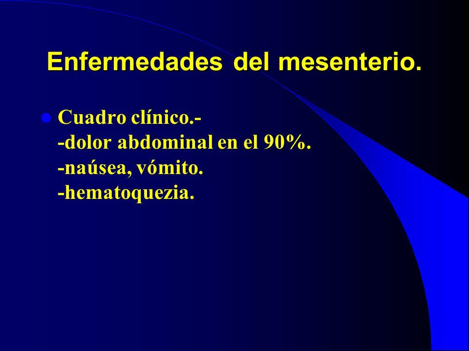 Enfermedades del mesenterio. Cuadro clínico.- -dolor abdominal en el 90%. -naúsea, vómito. -hematoquezia.