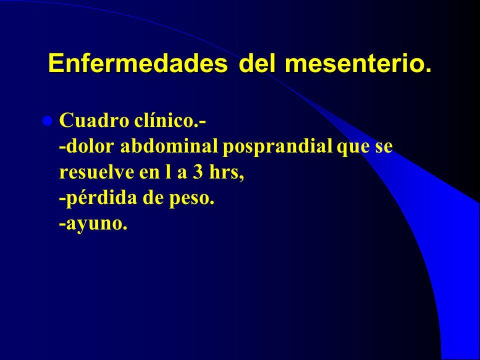 Enfermedades del mesenterio. Cuadro clínico.- -dolor abdominal posprandial que se resuelve en l a 3 hrs, -pérdida de peso. -ayuno.