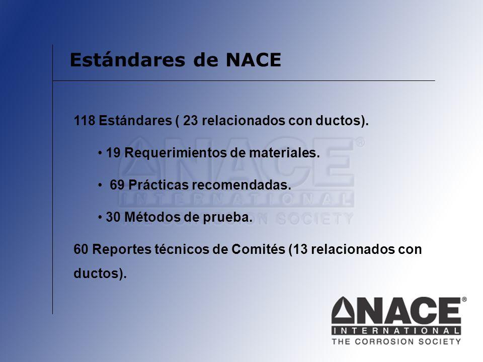 Estándares de NACE 118 Estándares ( 23 relacionados con ductos). 19 Requerimientos de materiales. 69 Prácticas recomendadas. 30 Métodos de prueba. 60
