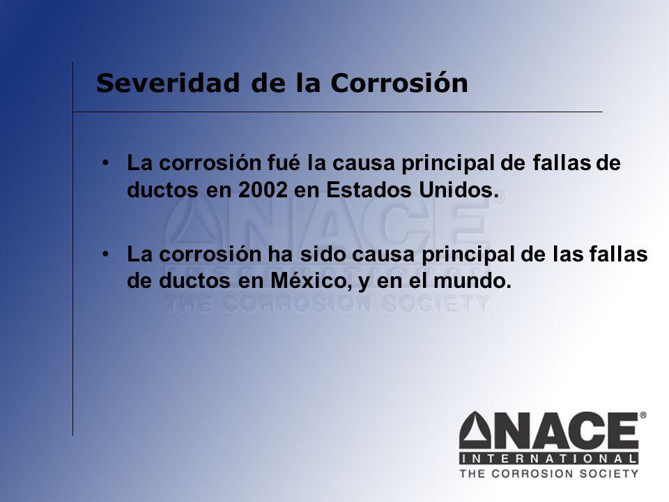 Severidad de la Corrosión La corrosión fué la causa principal de fallas de ductos en 2002 en Estados Unidos. La corrosión ha sido causa principal de l
