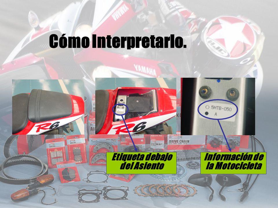 Etiqueta debajo del Asiento Información de la Motocicleta Cómo Interpretarlo.