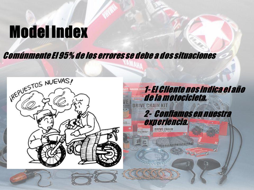 Comúnmente El 95% de los errores se debe a dos situaciones 1- El Cliente nos indica el año de la motocicleta. 2- Confiamos en nuestra experiencia. Mod