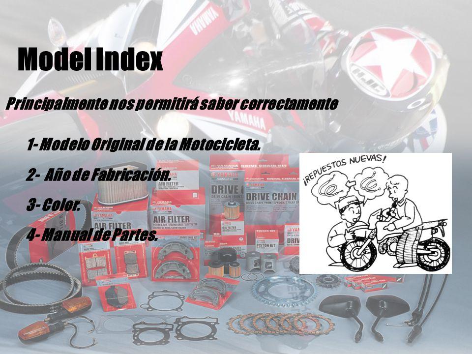 Principalmente nos permitirá saber correctamente 1- Modelo Original de la Motocicleta. 2- Año de Fabricación. 3- Color. 4- Manual de Partes. Model Ind