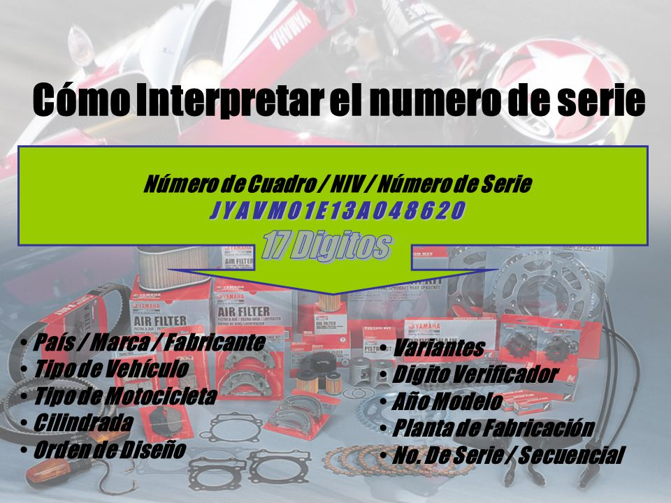 Número de Cuadro / NIV / Número de Serie J Y A V M 0 1 E 1 3 A 0 4 8 6 2 0 País / Marca / Fabricante Tipo de Vehículo Tipo de Motocicleta Cilindrada O