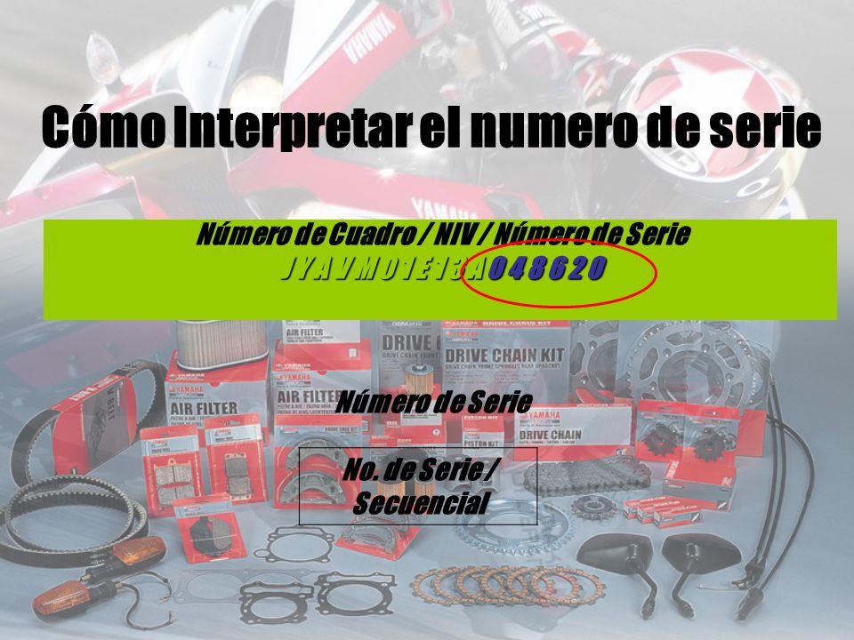 Número de Cuadro / NIV / Número de Serie J Y A V M 0 1 E 1 3 A 0 4 8 6 2 0 Número de Serie No. de Serie / Secuencial Cómo Interpretar el numero de ser