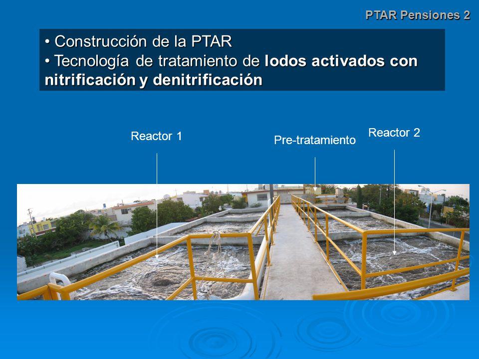 PTAR Pensiones 2 Construcción de la PTAR Construcción de la PTAR Tecnología de tratamiento de lodos activados con nitrificación y denitrificación Tecnología de tratamiento de lodos activados con nitrificación y denitrificación Reactor 1 Reactor 2 Pre-tratamiento