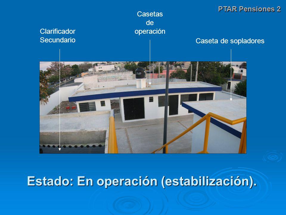 PTAR Pensiones 2 Estado: En operación (estabilización). Casetas de operación Clarificador Secundario Caseta de sopladores