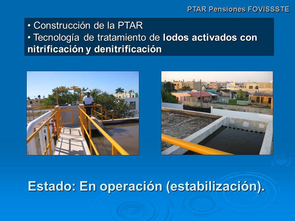 PTAR Pensiones FOVISSSTE Construcción de la PTAR Construcción de la PTAR Tecnología de tratamiento de lodos activados con nitrificación y denitrificación Tecnología de tratamiento de lodos activados con nitrificación y denitrificación Estado: En operación (estabilización).