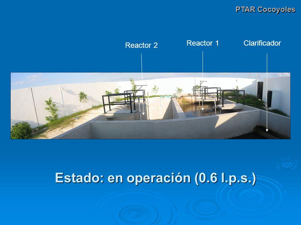 PTAR Cocoyoles Reactor 1 Reactor 2 Clarificador Estado: en operación (0.6 l.p.s.)