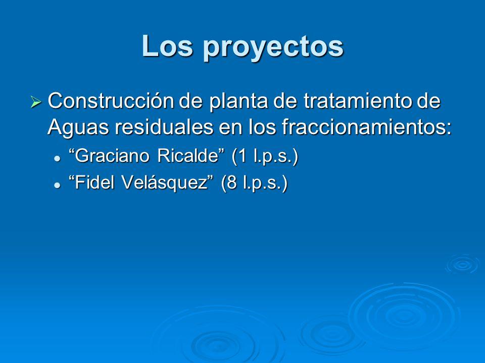 Los proyectos Construcción de planta de tratamiento de Aguas residuales en los fraccionamientos: Construcción de planta de tratamiento de Aguas residuales en los fraccionamientos: Graciano Ricalde (1 l.p.s.) Graciano Ricalde (1 l.p.s.) Fidel Velásquez (8 l.p.s.) Fidel Velásquez (8 l.p.s.)
