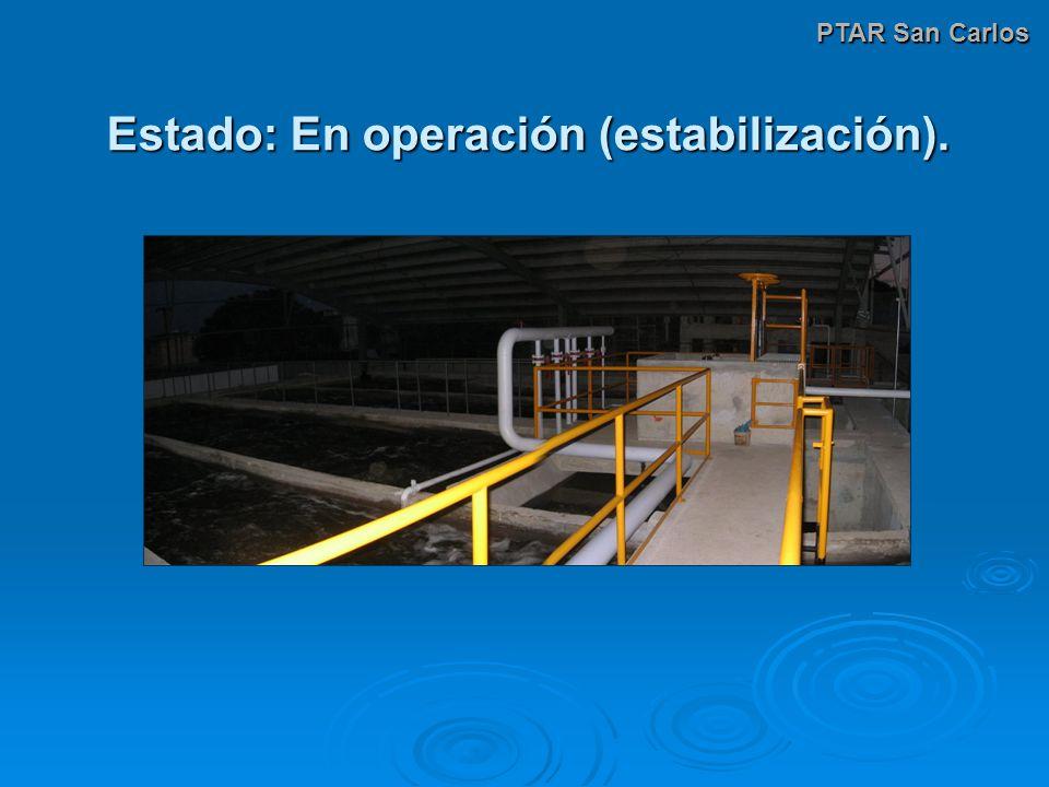 Estado: En operación (estabilización). PTAR San Carlos