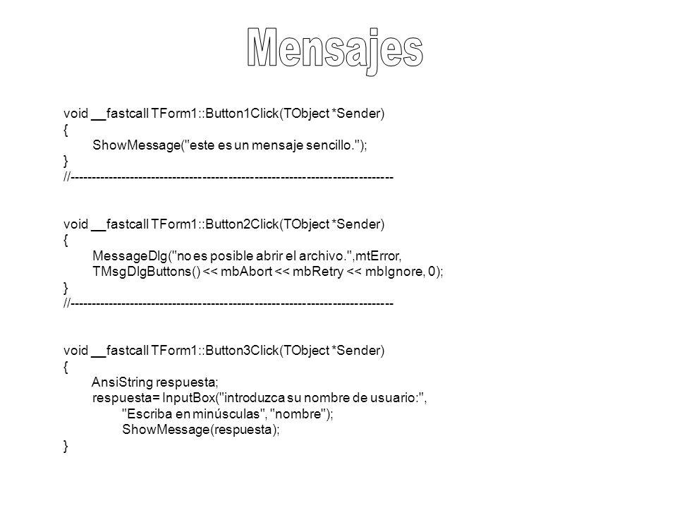 #include #pragma hdrstop USERES( Estructura1.res ); //--------------------------------------------------------------------------- WINAPI WinMain(HINSTANCE, HINSTANCE, LPSTR, int) { struct Tclientes { AnsiString Nombre; int Edad; char sexo; double telefono; AnsiString Direccion; }; Tclientes Cliente; Cliente.Nombre= Odeth Calderon ; Cliente.Edad=18; Cliente.sexo= F ; Cliente.telefono=9611371009; Cliente.Direccion= Albania Alta ; ShowMessage( Nombre: +Cliente.Nombre+ \n + Edad: +AnsiString(Cliente.Edad)+ \n + Sexo: +Cliente.sexo+ \n + Telefono: +AnsiString(Cliente.telefono)+ \n + Direccion: +Cliente.Direccion+ \n ); return 0; }