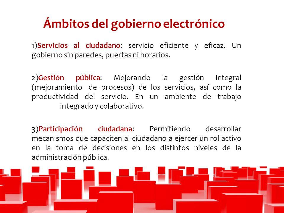 Ámbitos del gobierno electrónico 1)Servicios al ciudadano: servicio eficiente y eficaz.