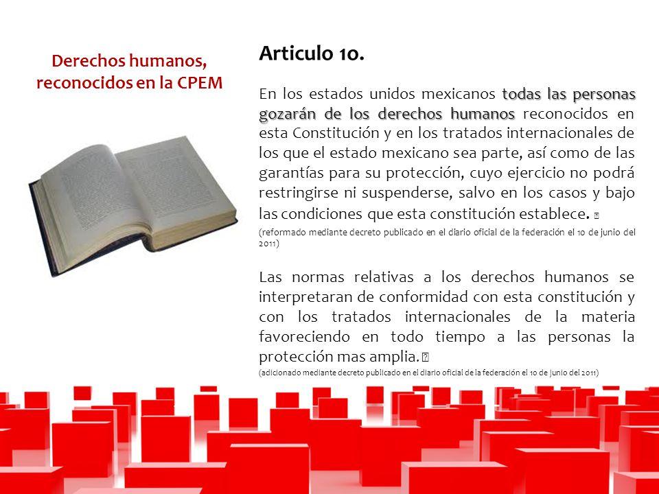 Derechos humanos, reconocidos en la CPEM Articulo 1o.