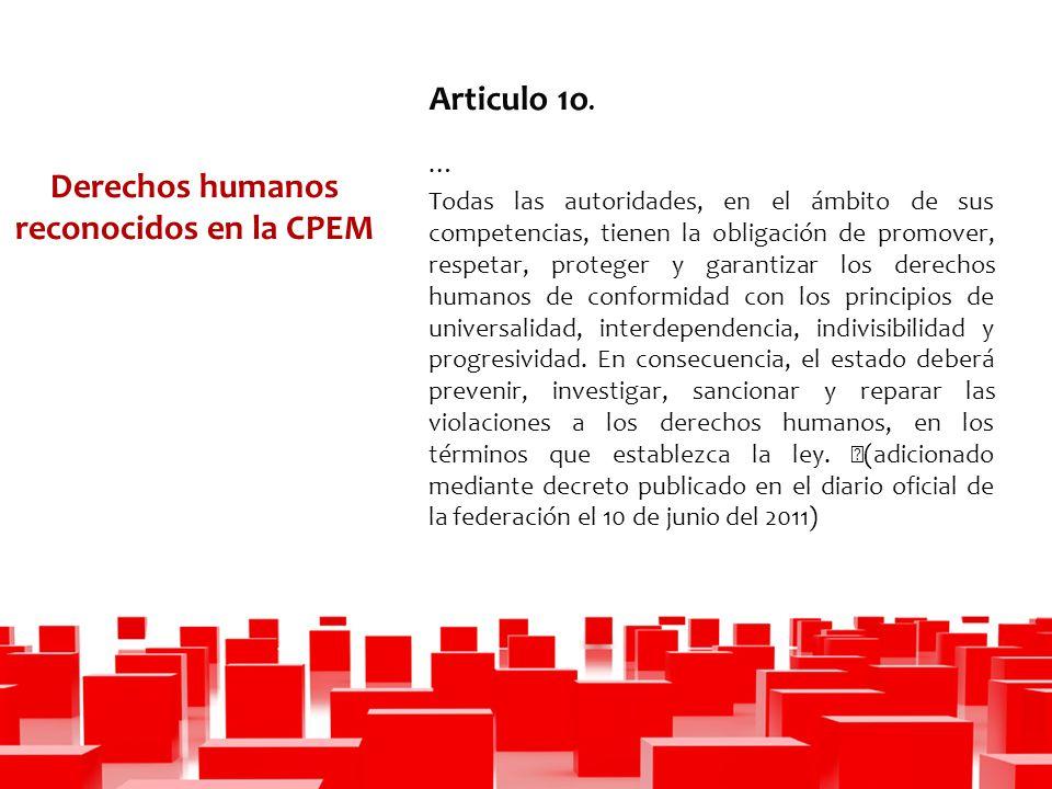 Derechos humanos reconocidos en la CPEM Articulo 1o.
