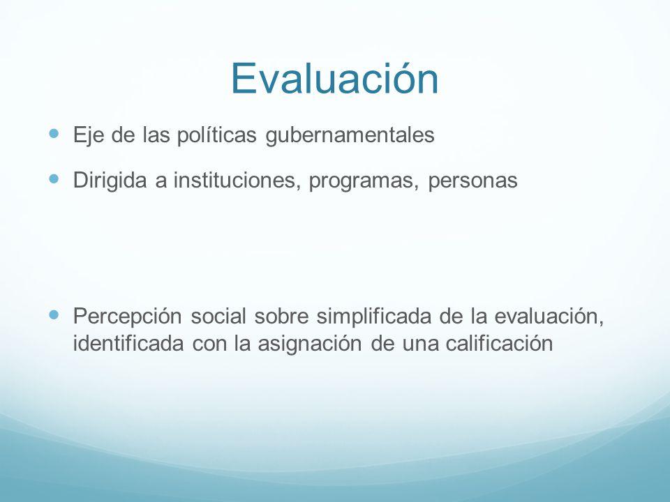 Evaluación Eje de las políticas gubernamentales Dirigida a instituciones, programas, personas Percepción social sobre simplificada de la evaluación, i