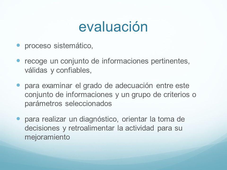 evaluación proceso sistemático, recoge un conjunto de informaciones pertinentes, válidas y confiables, para examinar el grado de adecuación entre este