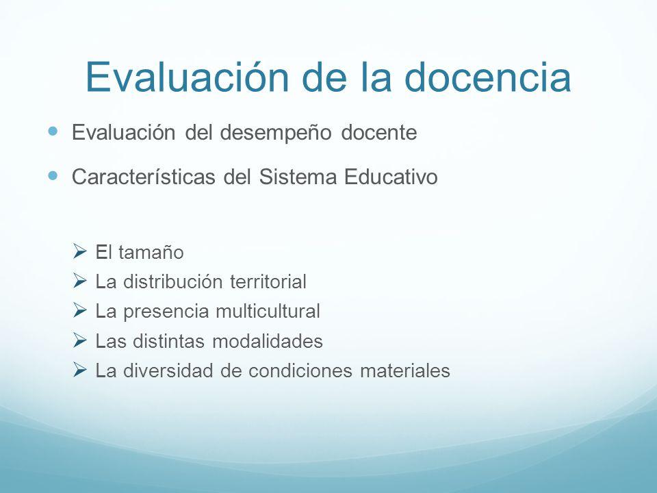 Evaluación de la docencia Evaluación del desempeño docente Características del Sistema Educativo El tamaño La distribución territorial La presencia mu