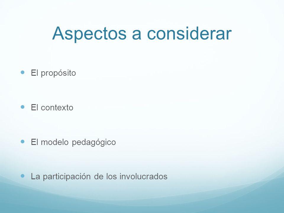 Aspectos a considerar El propósito El contexto El modelo pedagógico La participación de los involucrados