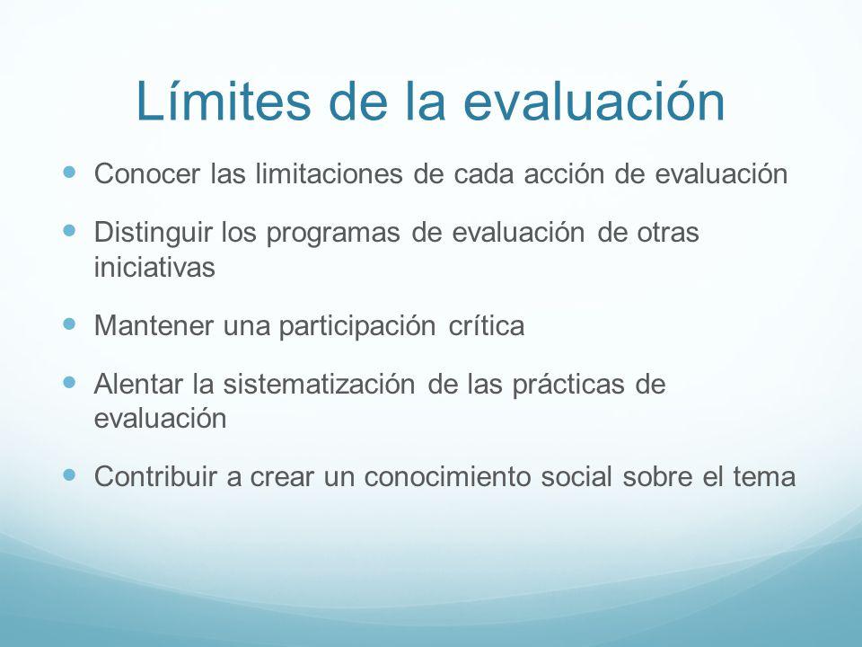 Límites de la evaluación Conocer las limitaciones de cada acción de evaluación Distinguir los programas de evaluación de otras iniciativas Mantener un