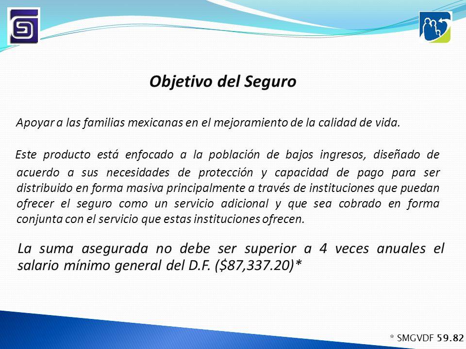 Objetivo del Seguro Este producto está enfocado a la población de bajos ingresos, diseñado de acuerdo a sus necesidades de protección y capacidad de p