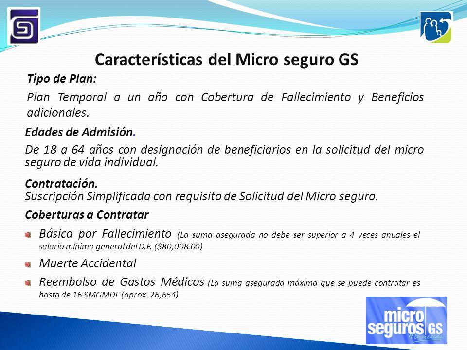 Características del Micro seguro GS Edades de Admisión. De 18 a 64 años con designación de beneficiarios en la solicitud del micro seguro de vida indi
