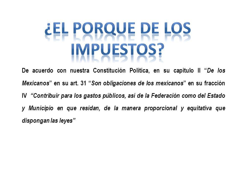 De acuerdo con nuestra Constitución Política, en su capitulo II De los Mexicanos en su art. 31 Son obligaciones de los mexicanos en su fracción IV Con