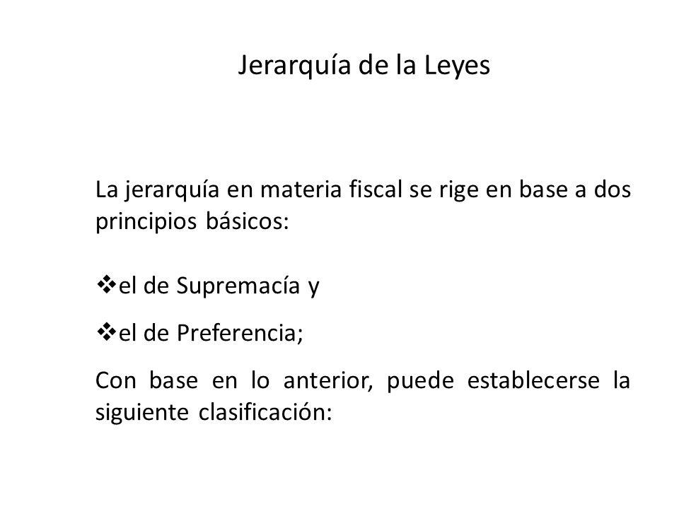 Jerarquía de la Leyes el de Supremacía y el de Preferencia; Con base en lo anterior, puede establecerse la siguiente clasificación: La jerarquía en ma