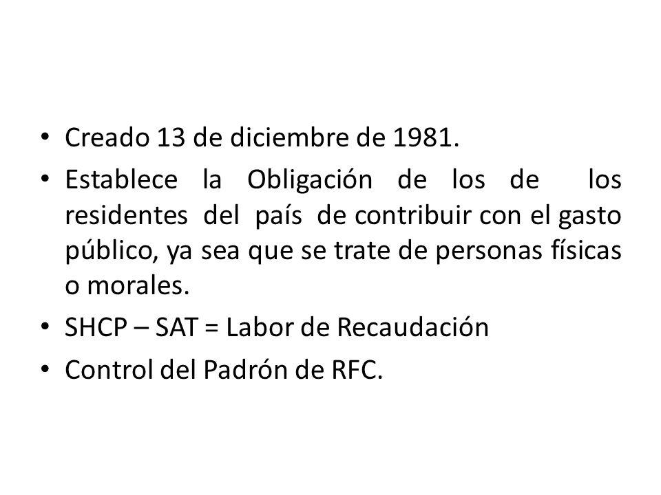 Creado 13 de diciembre de 1981. Establece la Obligación de los de los residentes del país de contribuir con el gasto público, ya sea que se trate de p