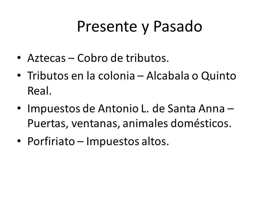 Presente y Pasado Aztecas – Cobro de tributos. Tributos en la colonia – Alcabala o Quinto Real. Impuestos de Antonio L. de Santa Anna – Puertas, venta