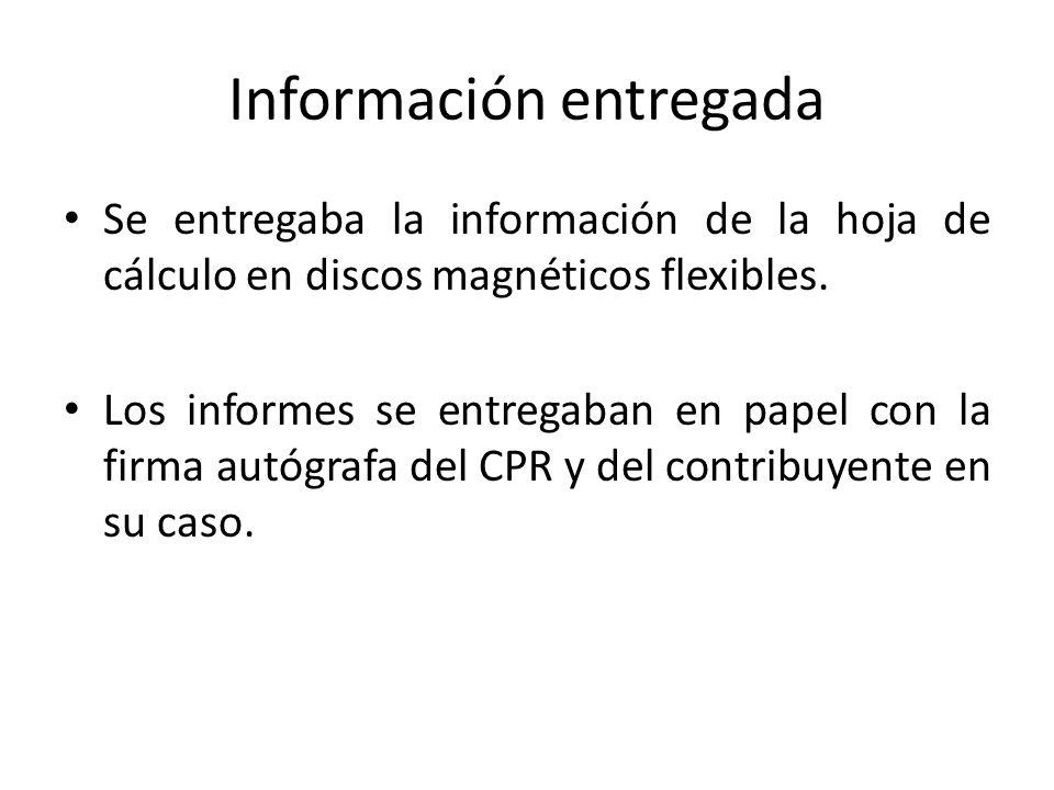 Información entregada Se entregaba la información de la hoja de cálculo en discos magnéticos flexibles. Los informes se entregaban en papel con la fir