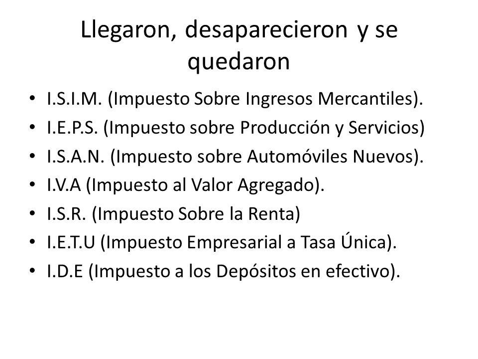 Llegaron, desaparecieron y se quedaron I.S.I.M. (Impuesto Sobre Ingresos Mercantiles). I.E.P.S. (Impuesto sobre Producción y Servicios) I.S.A.N. (Impu