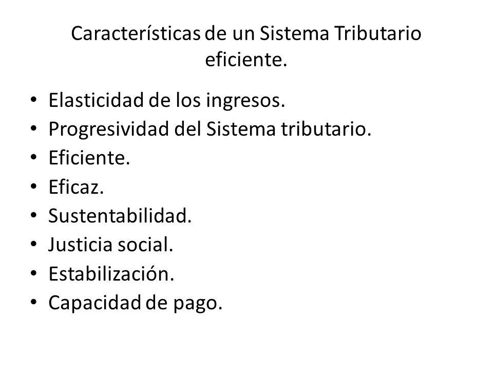Características de un Sistema Tributario eficiente. Elasticidad de los ingresos. Progresividad del Sistema tributario. Eficiente. Eficaz. Sustentabili