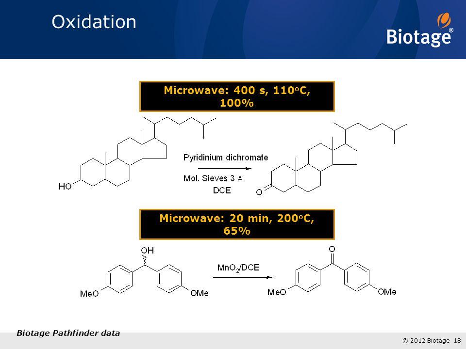 © 2012 Biotage 18 Microwave: 20 min, 200 o C, 65% Microwave: 400 s, 110 o C, 100% Biotage Pathfinder data Oxidation