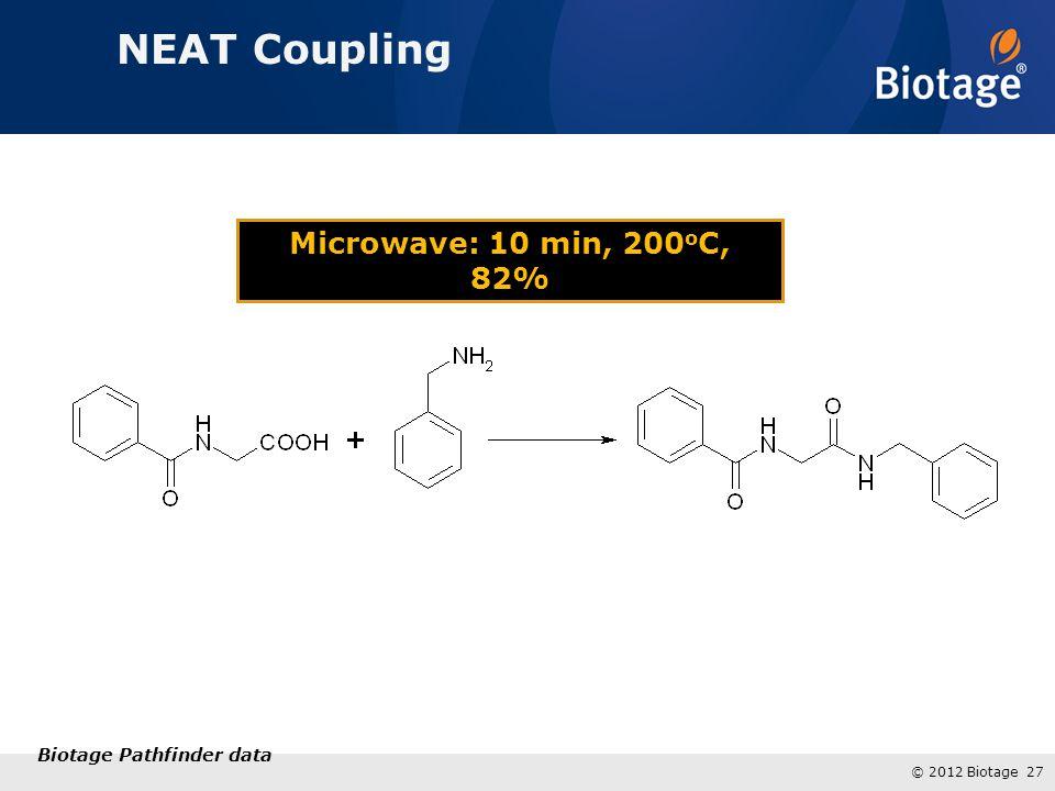 © 2012 Biotage 27 Microwave: 10 min, 200 o C, 82% NEAT Coupling Biotage Pathfinder data