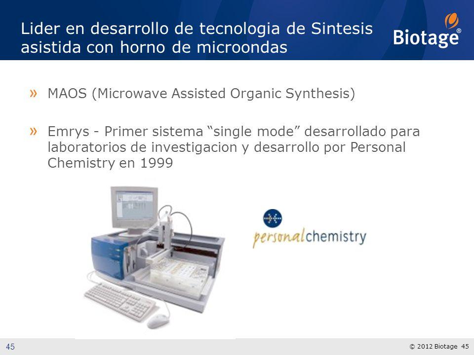 © 2012 Biotage 45 Lider en desarrollo de tecnologia de Sintesis asistida con horno de microondas » MAOS (Microwave Assisted Organic Synthesis) » Emrys - Primer sistema single mode desarrollado para laboratorios de investigacion y desarrollo por Personal Chemistry en 1999 45