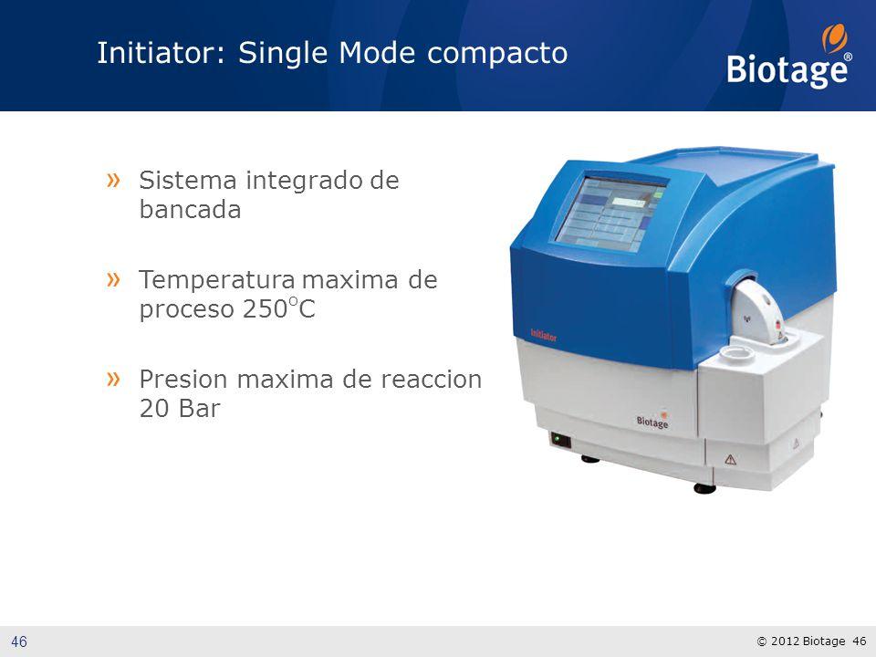 © 2012 Biotage 46 Initiator: Single Mode compacto » Sistema integrado de bancada » Temperatura maxima de proceso 250 O C » Presion maxima de reaccion