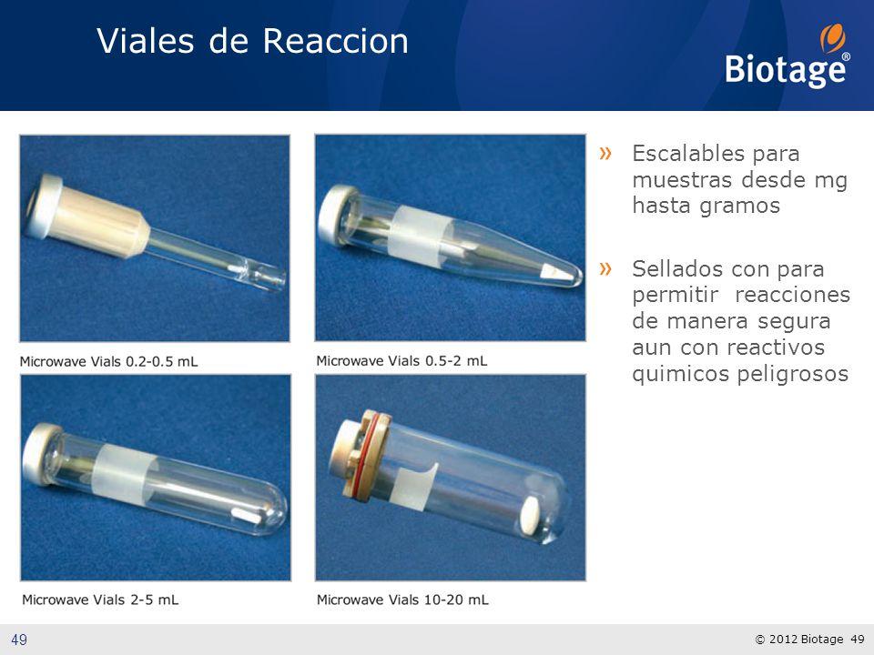 © 2012 Biotage 49 Viales de Reaccion » Escalables para muestras desde mg hasta gramos » Sellados con para permitir reacciones de manera segura aun con reactivos quimicos peligrosos 49
