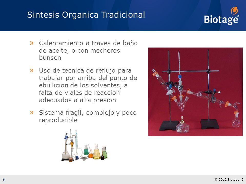 © 2012 Biotage 5 Sintesis Organica Tradicional » Calentamiento a traves de baño de aceite, o con mecheros bunsen » Uso de tecnica de reflujo para trab