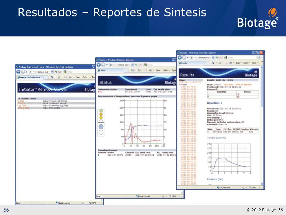 © 2012 Biotage 56 Resultados – Reportes de Sintesis 56