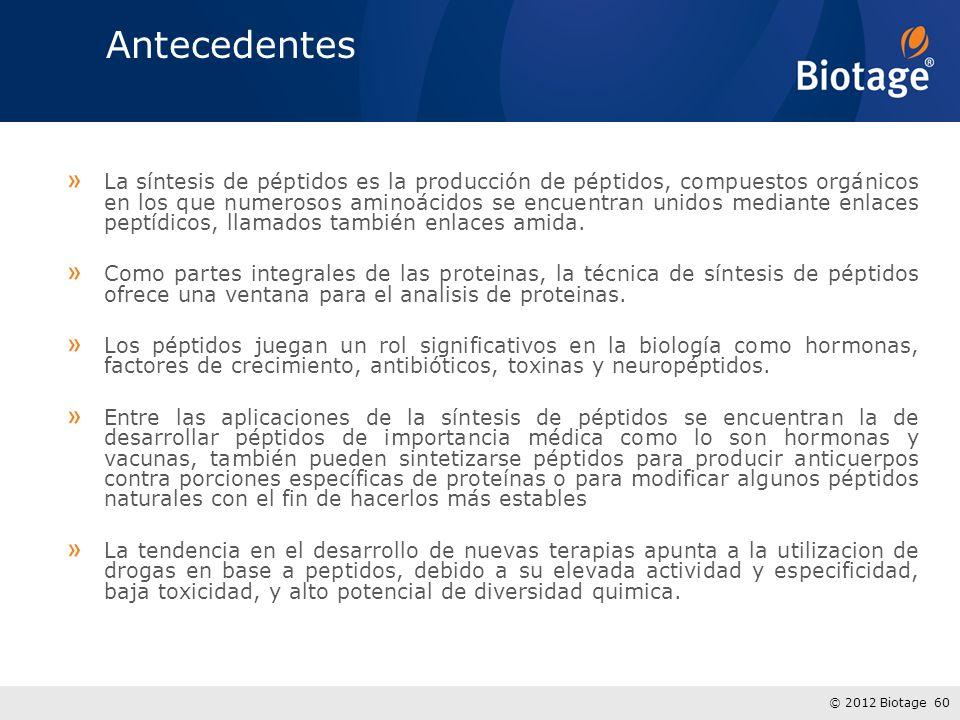 © 2012 Biotage 60 Antecedentes » La síntesis de péptidos es la producción de péptidos, compuestos orgánicos en los que numerosos aminoácidos se encuentran unidos mediante enlaces peptídicos, llamados también enlaces amida.
