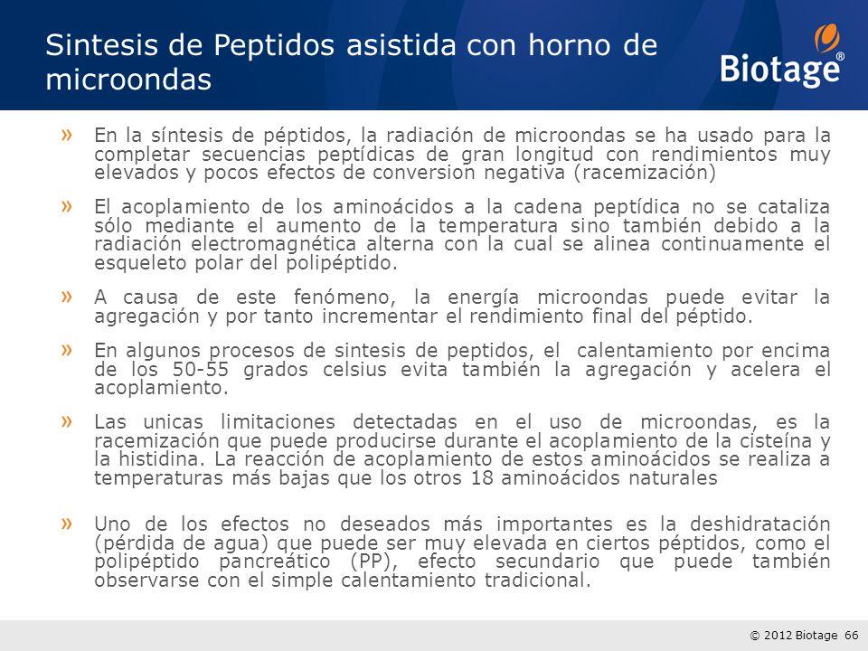© 2012 Biotage 66 Sintesis de Peptidos asistida con horno de microondas » En la síntesis de péptidos, la radiación de microondas se ha usado para la c